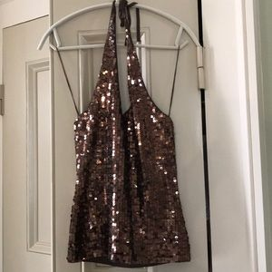 Laundry Brown Sequined Halter Top (XS)